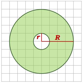На клетчатой бумаге нарисованы два круга. Площадь внутреннего круга равна 12. Найдите площадь заштрихованной фигуры.