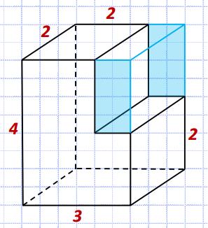 Найдите площадь поверхности многогранника, изображенного на рисунке (все двугранные углы прямые).