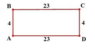 Две стороны прямоугольника ABCD равны 4 и 23. Найдите скалярное произведение векторов AB и AD.