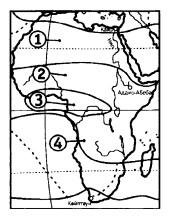 В какой из обозначенных на карте Африки точек выпадает наибольшее среднегодовое количество осадков?