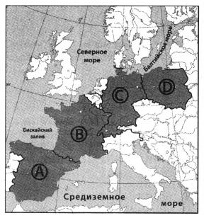 Какой буквой на карте Европы обозначена Германия?