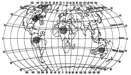Какая из территорий, обозначенных буквами на карте, имеет наибольшую среднюю плотность населения?