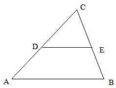 В треугольнике ABC DE - средняя линия. Площадь треугольника CDE равна 24. Найдите площадь треугольника ABC.