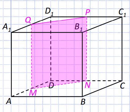 Объем куба равен 12. Найдите объем треугольной призмы, отсекаемой от него плоскостью, проходящей через середины двух ребер, выходящих из одной вершины и параллельной третьему ребру, выходящему из этой же вершины.