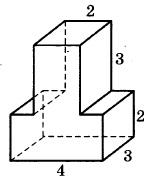 Найдите объём многогранника, изображённого на рисунке (все двугранные углы прямые).