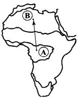 Из какой природной зоны в какую переместится путешественник, совершив перелет по маршруту A-В, показанному на карте Африки?