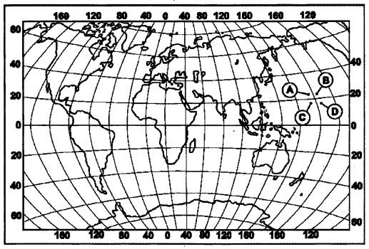 Какой буквой на карте мира обозначена точка, имеющая координаты 24° с.ш. и 175° з.д.?