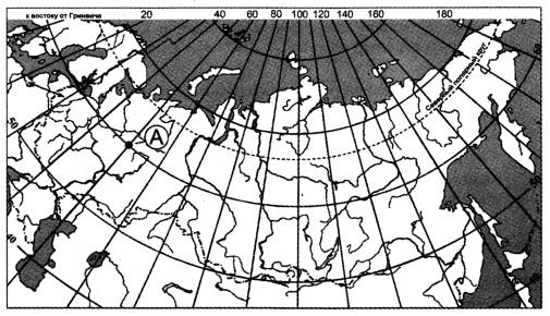 Какие географические координаты имеет точка, обозначенная на карте буквой А?